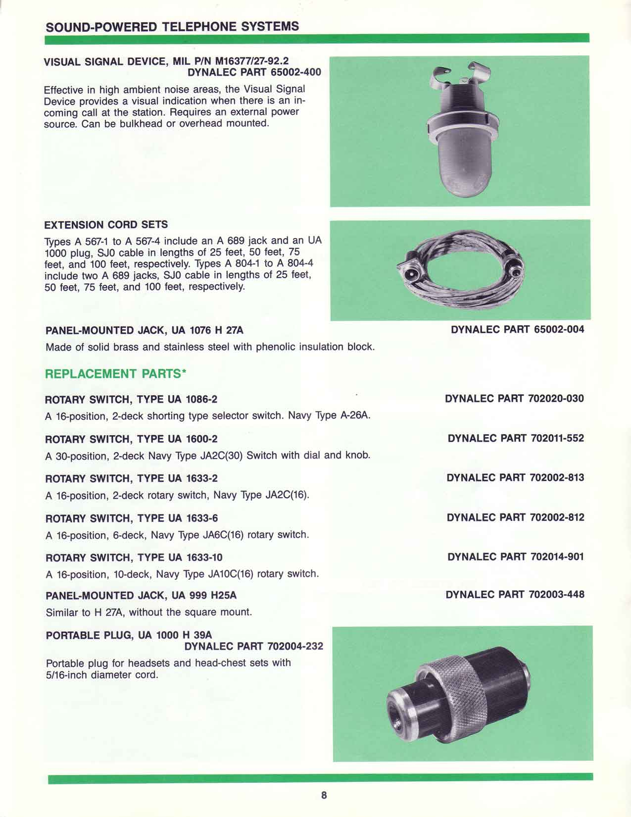 sound powered telephone systems, parts, Dynalec